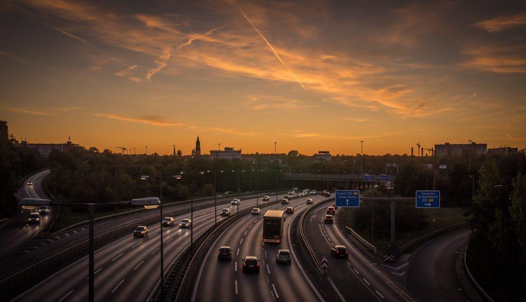 highway, evening traffic, sunset