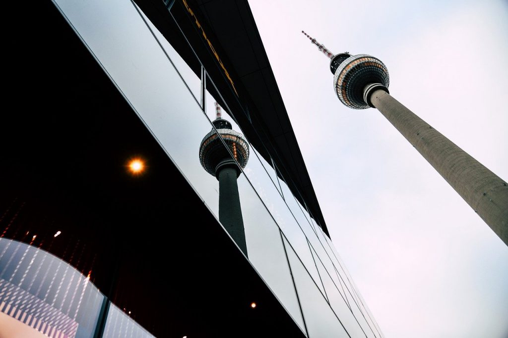 tv tower, berlin, mirroring