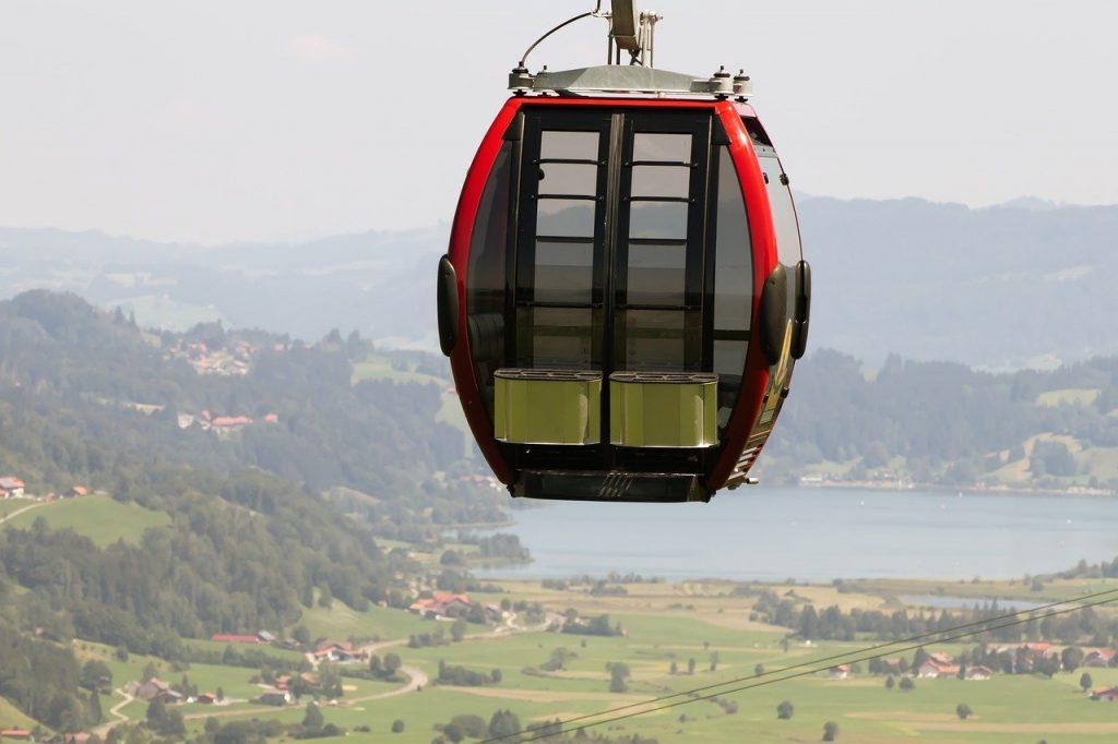 gondola, lake, mountains