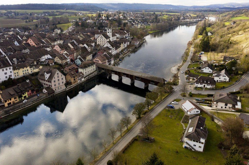 river, bridge, town