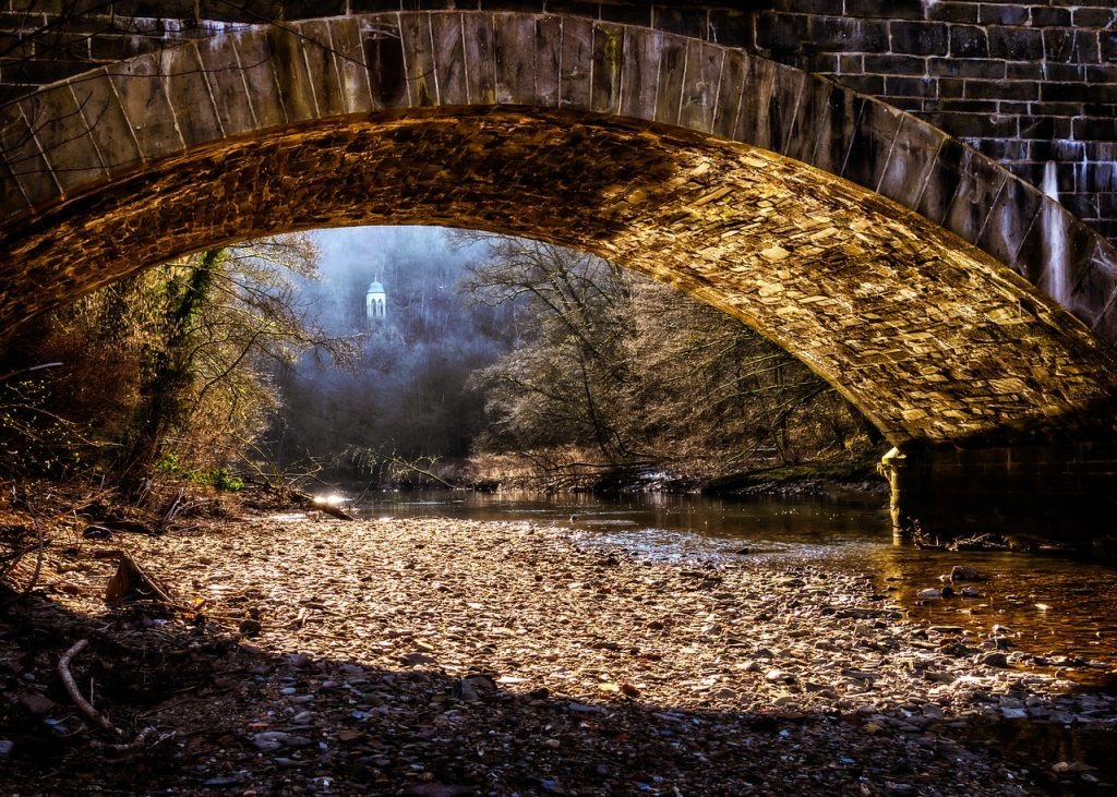 bridge, river, nature