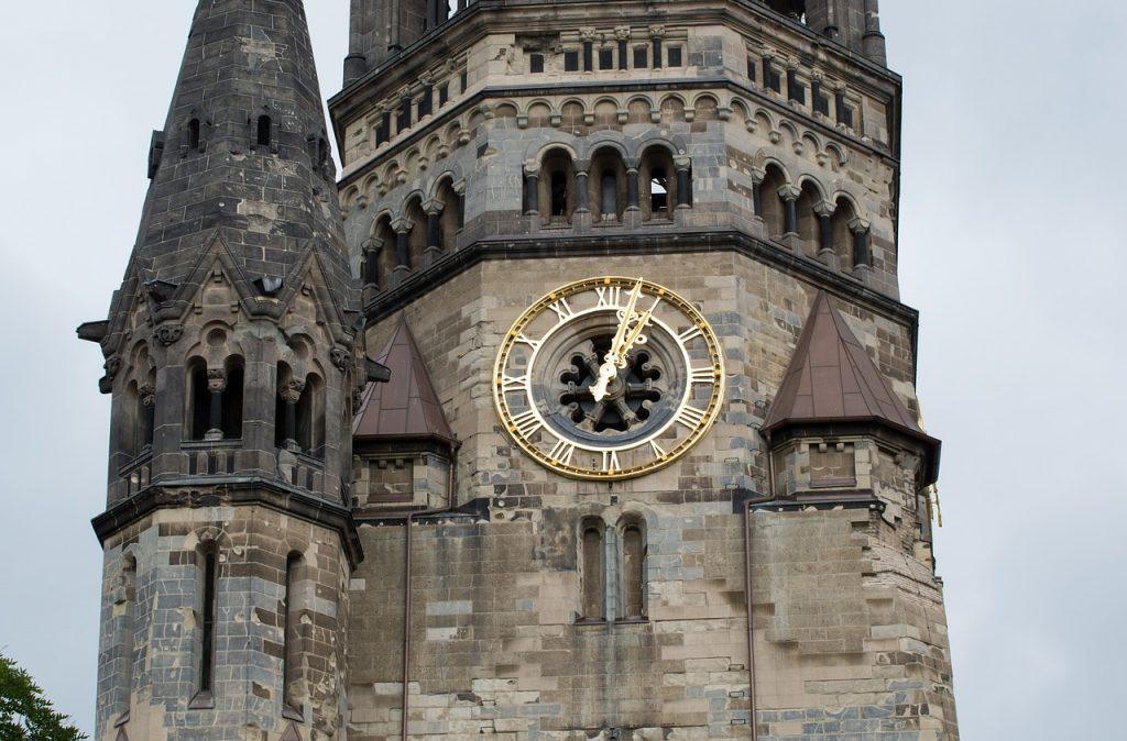 clock tower, church clock, kaiser wilhelm memorial church