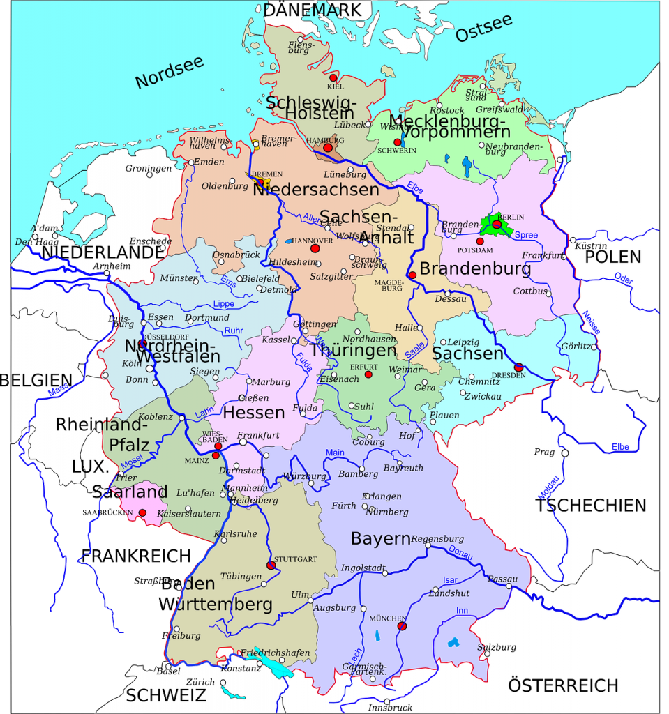 germany, states, map