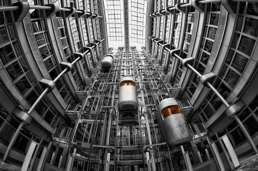lifts, architecture, ludwig erhard haus