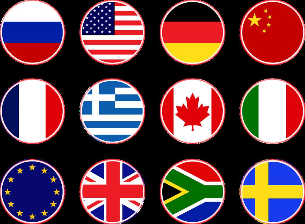 flags, russia, usa