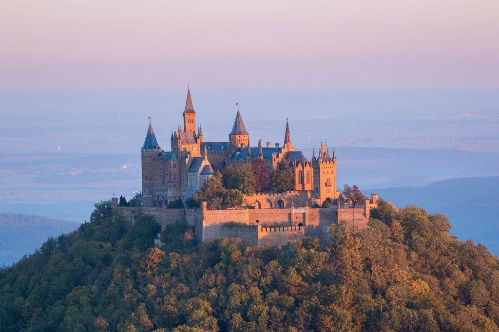 castle, hohenzollern, sunrise